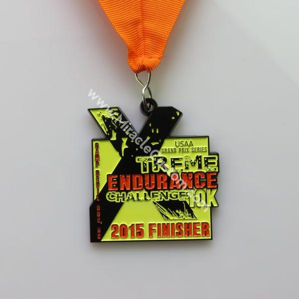 custom black dye race medals