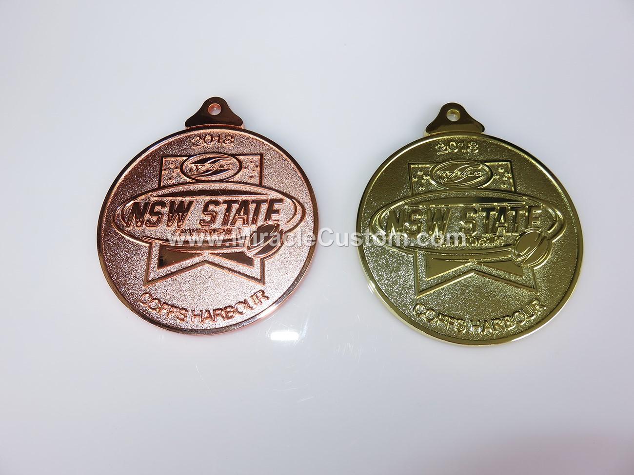 custom bright medals with sandblasting
