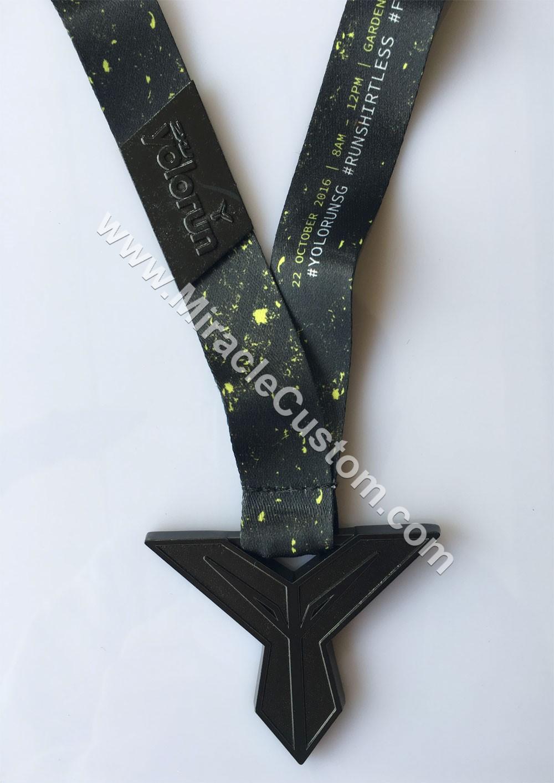 custom black finish race medals