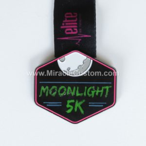 custom fluorescent Night Run 5k medals