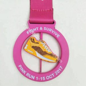 custom pink run race medals