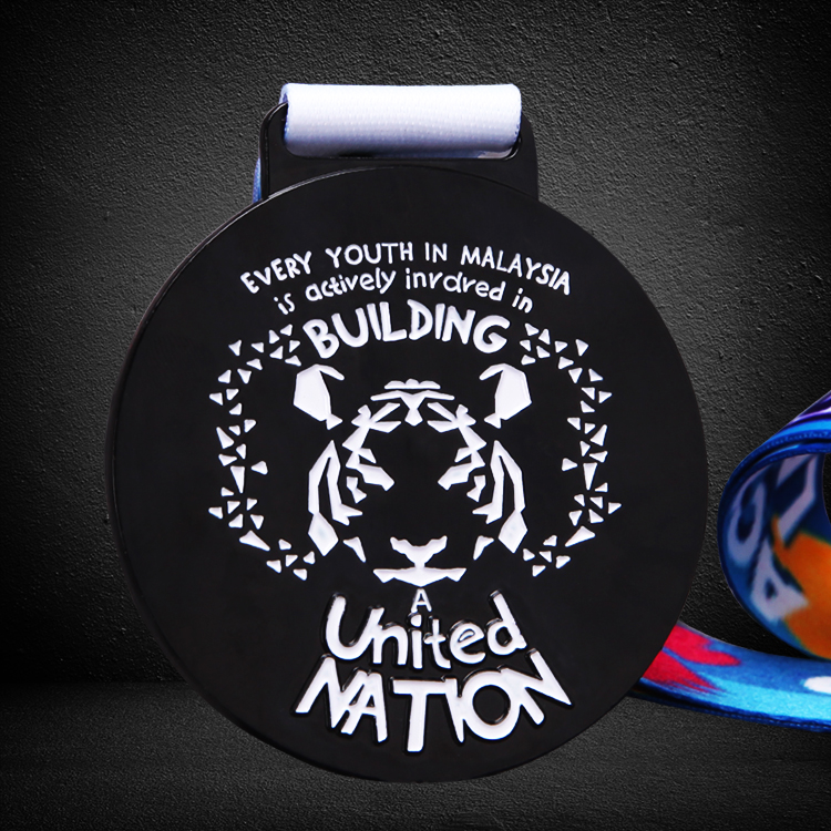custom black finish color filled medals