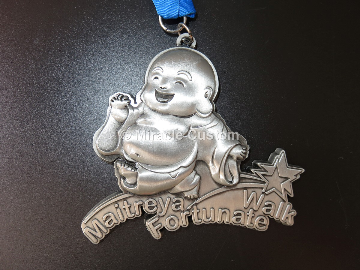 custom maitreya fortunate walk medals 3D Antique Medals