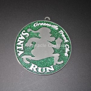 Custom Santa Run Glitter Medals