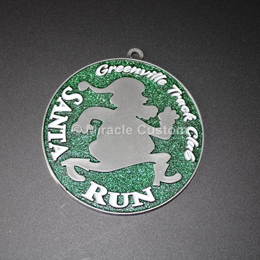 Custom Santa Run Glitter Medals