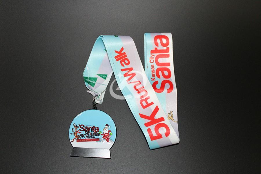 Custom Santa 5K Run Medals