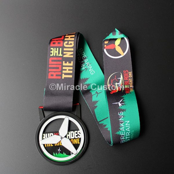Custom Windmill Black Finish Spinning Medals
